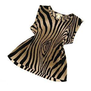 Flawless Vintage Plissé Animal Stripe Tunic Blouse